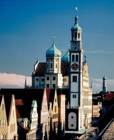 Augsburg, Rathaus, Perlachturm und St. Ulrich