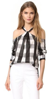 Rag & Bone Collingwood Cold-shoulder Gingham Cotton-blend Top In Black ,white Monochrome Fashion, Bold Fashion, Girl Fashion, Fashion Design, White Cold Shoulder Top, Shoulder Tops, White Cotton Blouse, Look 2018, Classy Casual