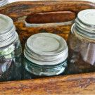 Antique Wooden Tool or Silverware Caddy and Mason Jars