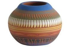 """Beautiful Navajo pottery vessel signed by the artist, """"Carol Torrez,"""" on the bottom."""