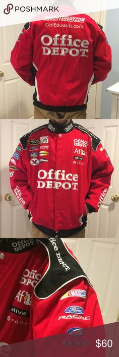 89d69923a36566 Carl Edwards NASCAR Chase Authentics Racing Jacket EUC Carl Edwards Office  Depot Racing Jacket Button down