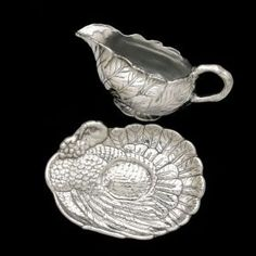 Arthur Court Turkey Gravy Boat and Tray Set Gravy Boats, Arthur Court, Winter Must Haves, Turkey Gravy, Harvest Time, A Boutique, Autumn Leaves, Pewter, Silver