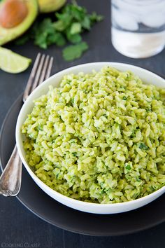 Avocado Cilantro Lime Rice - recipe with  Mashed avocados, lime juice, and cilantro.