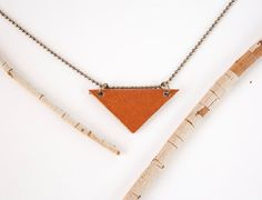 Triangle pendant in brown leather geometric by WholeGrainFlair, $8.00