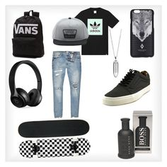 """""""Untitled #6"""" by lucifuk on Polyvore featuring adidas, River Island, Vans, Beats by Dr. Dre, Marcelo Burlon, BOSS Hugo Boss, Akillis, men's fashion and menswear"""