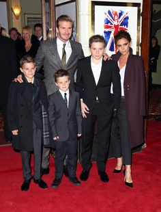 Victoria Beckham (wearing her own label), David Beckham, Romeo Beckham, Brooklyn Beckham, and Cruz Beckham (all wearing Burberry) at the Viva Forever press night in London.