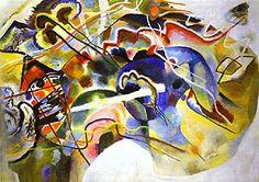 Wassily Kandinsky, Schilderij met witte rand, 1913. De kunstenaars van Der Blaue Reiter zijn de eerste die abstracte werken maken. Het doel van abstractie is iedere verwijzing naar objectieve realiteit vermijden. Daarom worden figuratieve vormen weggelaten. Ze willen wel een emotionele en/of spirituele inhoud en proberen dit te bereiken met vorm, kleur, verfstreek, textuur, maat en schaal.