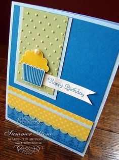 Stampin Up: Cute use of the Create a Cupcake stamp set and the Cupcake Builder punch.