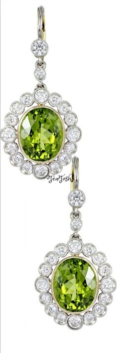 ❇Téa Tosh❇ Peridot Diamond Gold Platinum Drop Earrings