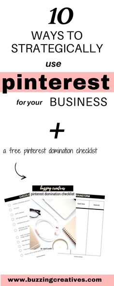 10 ways to strategically use pinterest for your small business or blog Pinterest is such an important tool for every creative entrepreneur. That is why we decided to host a FREE Webinar on 10 ways to strategically use Pinterest for your Business. This Webinar is a great place to start if you have wondered: how can I use Pinterest for my business? many people have made their business thrive because of Pinterest Strategies implemented in their marketing strategy, #buzzingcreatives