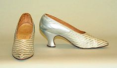 Evening shoes,1918-20, British. leather,silk