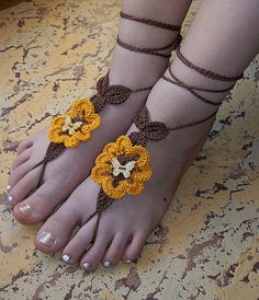 browncrocheted barefoot sandals steampunk, victorian