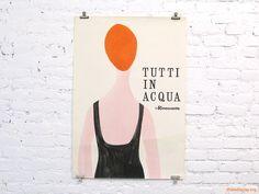 Tutti In Acqua (1957) poster designed by Lora Lamm with Amneris Latis