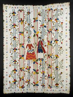 Embroidered (Colcha) coverlet  Doña Rosa Solís Y Menéndez     Date:      1786  Geography:      Mérida, Mexico  Culture:      Mexican  Medium:      Cotton embroidered with silk  Dimensions:      100 x 73 in. (254 x 185.4 cm)  Classification:      Textiles  Credit Line:      Purchase, Everfast Fabrics Inc. Gift, 1971  Accession Number:      1971.20    This artwork is not on display