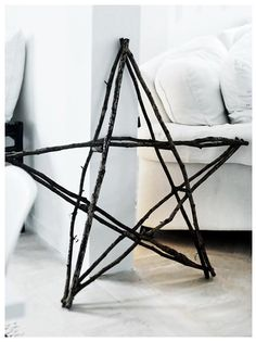 star out of sticks- we could  make you a small one, maybe hang it from your front door with a bright colorful bow