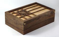Asa No Ha Walnut Keepsake Box - The Wood Whisperer Japanese Woodworking, Woodworking Box, Woodworking Projects, Craft Storage Box, Small Storage Boxes, Diy Plywood Art, Restore Wood Furniture, Wooden Box Designs, Woodworking Inspiration