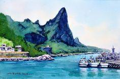 울릉도 송곳바위 53.0 x 40.9cm watercolor dn ppaper watercolor by Jung in sung