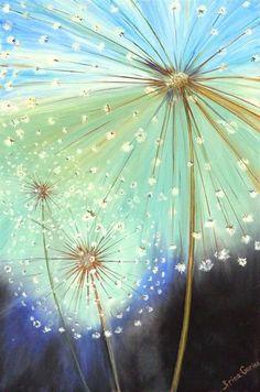 Working on a dandelion acrylic. Silk Painting, Painting & Drawing, Dandelion Painting, Dandelion Seeds, Dandelion Clock, Painting Flowers, Acrylic Paintings, Pintura Graffiti, Foto Poster