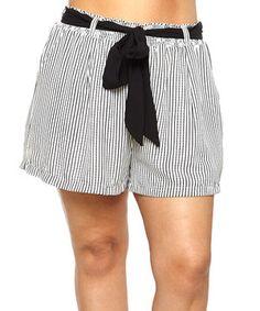 Another great find on #zulily! C.O.C. Black & White Stripe Tie-Waist Shorts - Plus by C.O.C. #zulilyfinds