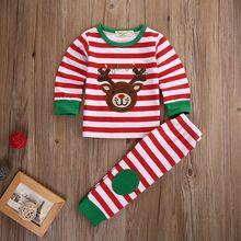 2Pcs Kids Boys Girls Bear Deer Christmas Outfit Set Children Kid Cartoon Stripe Cartoon T-shirt+Stripe Pants Tracksuit Clothes(China (Mainland))