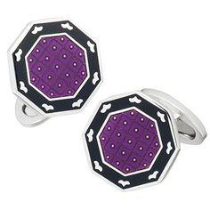 Purple Black Bordner Enamel Cufflinks by Jan Leslie
