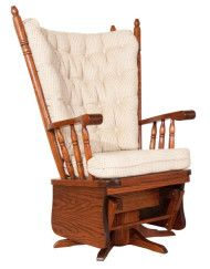 Highback Swivel Glider offers a custom made lounge chair in the solid wood of your choice. Great addition to living room, bedroom or nursery. Choice of fabric o