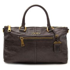 ce1357a282c575 Labellov Prada Grey Front Zip Calfskin Bag ○ Buy and Sell Authentic Luxury