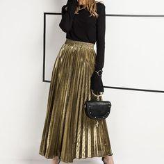 a0b5c29a6 Spring LoveMe™ Collection - Metallic long Skirt Long Gold Skirt, Gold  Pleated Skirt,