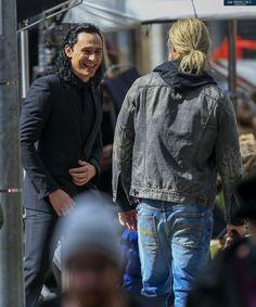 Tom Hiddleston as #Loki (with Chris Hemsworth) on the set of Thor: Ragnarok in Brisbane, Australia 22.8.2016 From http://tomhiddleston.us/gallery/thumbnails.php?album=802