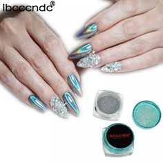 """Universe of goods - Buy Rainbow Mirror Nail Glitter Powder Holographic Nails Dust Laser Holo Nail Art Decorations Chrome Pigment for Gel Polish"""" for only USD. Matte Nails, Stiletto Nails, Glitter Nails, Red Nail Designs, Simple Nail Designs, Nail Manicure, Gel Nails, Mirror Nails, Prego"""