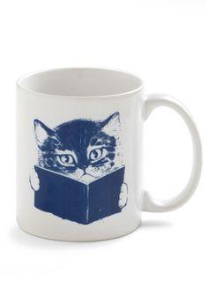 Books, coffee and cats! What a combination! Fur-st Edition Mug @ ModCloth.com