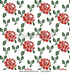 Seamless Texture of a Red Rose Cross Stitch Rose, Cross Stitch Borders, Cross Stitch Flowers, Cross Stitch Embroidery, Cross Stitch Patterns, Crochet Patterns, Seamless Textures, Hand Art, Bargello