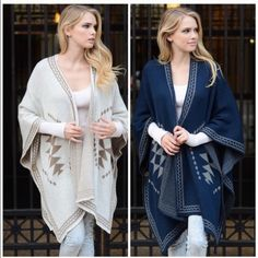 ️oversized Slouchy  Knit Poncho Cape You will want all the colors . Great quality and well made poncho with button detail. One size fits all . Colors available are navy , mocha and Ivory . Nwot please comment for personal listing. Vivacouture Sweaters