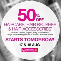 #Priceline will have #halfprice on their range of #haircare #hairbrush and #hairaccessories for 2 days starts tomorrow  17-18 Aug 2016. Thx @addicted_to_bargains  . . . .  #onsale #hairproduct #hair #lusciouslocks #bargain #whypayfullprice #50percentoff #whypaymore #reducedprice #discounted #smartshopper #savvyshopper #savvysaver #aug16
