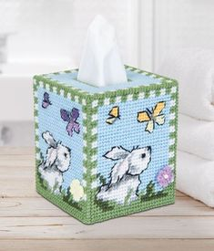 Hippity Hop Tissue Box - Adorable cover for your tissue box. Kit includes 7 mesh plastic canvas, acrylic yarn and pattern. Plastic Canvas Tissue Boxes, Plastic Canvas Crafts, Plastic Canvas Patterns, Craft Stick Crafts, Clay Crafts, Craft Ideas, Preschool Crafts, Retro Packaging, Retro Campers