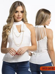 Blusa Moda Colombiana Vikats - Ref. Trendy Outfits, Fashion Outfits, Womens Fashion, Trendy Tops For Women, Asymmetrical Tops, Western Outfits, Indian Designer Wear, Unique Dresses, Office Outfits