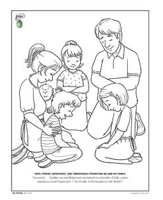 Faith, Prayer, Repentance, and Forgiveness strengthen me and my family. (LDS The Friend Magazine Coloring Page)