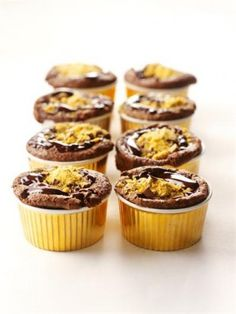 Glitzy Chocolate Puddings by Nigella's Recipe - Ingredients: For the chocolate puddings, 100 gram(s) dark chocolate (minimum 70% cocoa solids),100 gram(s) butter (soft), 200 gram(s) caster sugar, 4 medium eggs  50 gram(s) self-raising flour,¼ tsp. bicarbonate of soda, 1 pinch of salt  For the glaze: 150 gram(s) dark chocolate (minimum 70% cocoa solids), 45 gram(s) butter, 80 gram(s) crunchie bar (2 bars)