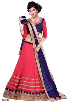 Pink_and_blue_lehnga at Mirraw.com
