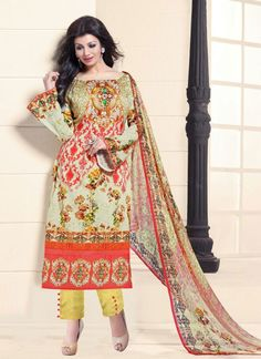 Look sensationally awesome in this Ayesha Takia multi colour cotton   designer straight salwar suit. This attire is beautifully adorned with print work. Comes with matching bottom and dupatta. (Slight...