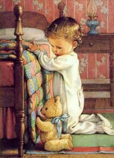 Child saying prayers before bedtime illustration. with a teddy bear Vintage Pictures, Cute Pictures, Kind Photo, Prayers For Children, Vintage Cards, Vintage Children, Art Children, Illustrators, Art For Kids