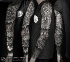 Ouroboros/Triangle Sleeve (various healing stages) byDaniel...