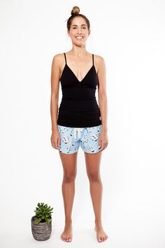 That's cactus pyjama shorts with black In Your Dreams cami. Both made with organic fairtrade cotton. www.thegoodnightsociety.com.au
