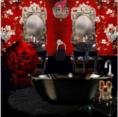 """Decadent red bathroom"" by gio-beautiful-life ❤ liked on Polyvore"