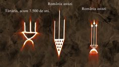 Same symbol from Tartaria tablets, Romania ( writing that pre-dates Sumer by 2000 years) amazingly preserved in the Romanian folklore. middle and right: mural decoration in today rural areas. Romanian Flag, Transylvania Romania, Symbols And Meanings, Danube River, Sumerian, Rural Area, Symbolic Tattoos, Ancient Artifacts, World Cultures