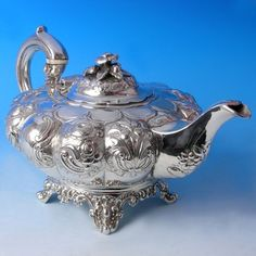 You may be interested in purchasing a silver teapot, but do not know exactly what to look for, or perhaps what to look out for. Silver teapots add a special touch to any tea setting, and they are also very serviceable when it comes to actually. Vintage Silver, Antique Silver, Victorian Teapots, Silver Teapot, Bronze, Teapots And Cups, My Cup Of Tea, Tea Service, Tea Accessories