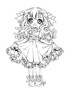 cute anime coloring page