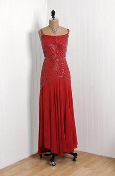 1930's beaded silk chiffon evening dress