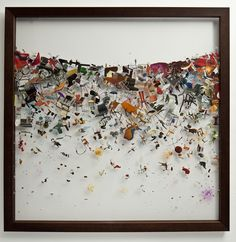 Peter Madden's 'Dispersion: Post Disaster Day 3' (2009) found images, watercolour and resin on perspex 108 x 108 cm' from the Ivan Anthony Gallery