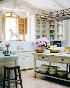 french country cottage kitchen + island